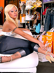 Long leg hot ass babe strips out of her jeans and foot fucks the shoe store manager in thesae amazing reality porn pics and big movie