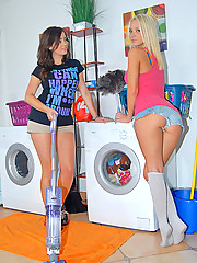 Beautiful molli and hot ass vixen do laundry naked then rub and fuck eachother in these hot lesbian loving teen vids
