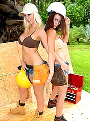 Amazing big tits molly cavallit and her lesbo girl lick and fuck on the construction site in these hot steamy lesbian fucking power tool drilling pics and big movie