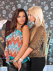 Hot babes Bambi & Eve Angel having lesbian sex with toys