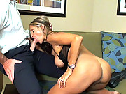 HotWifeRio strips out of her pantyhose and sucks on a big cock then gets a facial