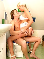 Horny babe loves some hot anal toilet banging