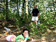 Hot teenage girl fucks old senior in a forest