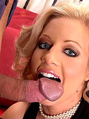 Blonde Trinity gets her pussy & feet fucked in stockings