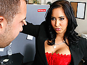Busty Worker fucking hard in her small cubicle