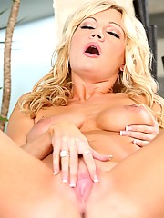 Tall, hot, blonde cougar Christina Skye shows off her perfect boobies