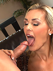Drop dead gorgeous European cougar slut sucks cock and gets fucked by a younger guy