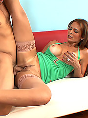 Drop dead gorgeous Latina cougar loves sucking cock and getting fucked by a younger guy
