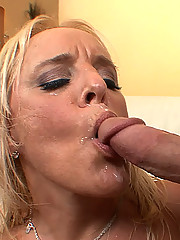 Slutty older blonde MILF sucks off a younger man and lets him fuck her pussy