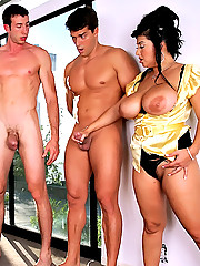 Check out this amazing milf fucking big tits babe take on a hard cock in these hot 3some cock fucking pics