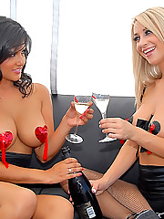 2 super hot lesbians fuck their hot boxes in these hot champagne and strawberry fucking teen lesbo pics