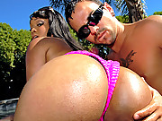 Watch hot ass fucking ebone babe get down   and fuck a huge dong at the pool in these mega ass dong fucking vids