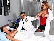 Hot doctor with massive titties gets slammed by her associate