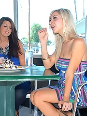 3 smoking hot long leg mini skirt teens share their undies in this hot after shopping 3some of sex