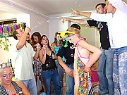 Skinny blonde teenie at her birthday party