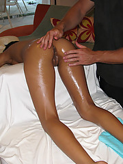 Masseuse creeps his hands all over bitch