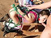 Roped up disgraced teen's sweet pussy gets pounded!