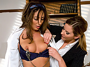 Angelica Saige spreads a rumor about the Head Mistress Madeline and gets called into the office for a some kinky lesbian corrective punishment involvi