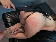 Role play of submissive model persuaded into bondage and sex.