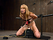 Sexy strawberry blond bound and machine fucked, cums hard in pile driver, missionary, doggie while machines nail her pussy.