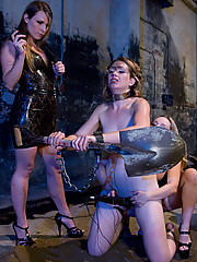 New girl punished by two hot Doms with electrical stems and cattle prod, she is fisted until she cums, flogged and fucked in a two girl electrical gan