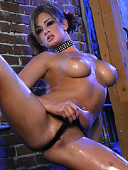 """Hot slut Tori Lane strips down naked and gets oiled up"""