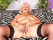 Grandma Betty pleasures her old gray pussy with her fingers