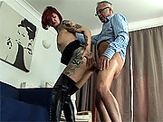 Horny senior sticks his big stiff cock in her tattooed ass