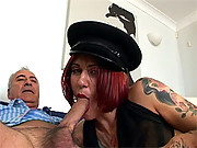 Filthy British whore sucking on a senior his huge boner