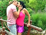 Hot busty teen receiving anal sex and creampie in the park