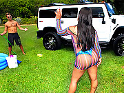 Amazing big booty babe satin gets wet and horny at the car wash in these hot black box bikini pussy fucking vids