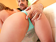 Ron Jeremy blows his old load all over this young eager face