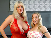 Big titty blonde MILFS play with boobs naked spreading legs wide