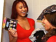 Smoking hot fucking college dorm babes get fucked and sucked in these college dorm amatuer bathroom fucking 4 some