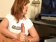 Step-mom Frankie acctidentally catches Billy masturbating. She notices how nice his cock is and decides to join in by helping him jack off to his favorite porno. Billy kicks back watching his favorite porn vid while Frankie helps bust his nut