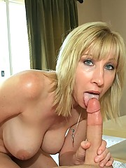 Mother Keri Lynn sucks and slobbers on Billys cock at See Mom Suck