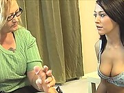 Alexis Grace makes cock cum all over moms face after blowjob at see mom suck