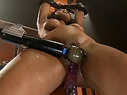Hot southern girl machine reamed and fucked in her tight pussy while her perfect natural tits bounce with the pounding.