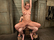 Sexy slave girl scrubs toilets while ass plugged!