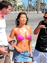 See this hot asian get picked up at the beach for some three some fun