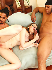 Kristine is hot, but we were afraid that she was just too damn little to take four monstrous black cocks at once.