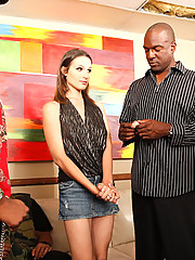 Judy Marie is a hot white bitch with a bad attitude in need of a serious adjustment -- well that cracker slut had better get ready to hear her hips crack as her pelvic bones get adjusted by way of one thick black dick in her pussy and another giant ebony