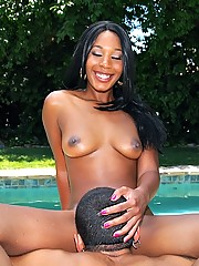 2 hot black babes get fucked pool side by big cock