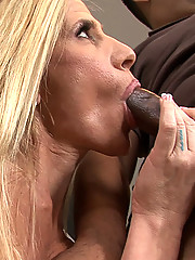 Fit blonde cougar gets naked and shows off her tits and ass