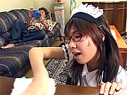 The horny asian maid banged hard at his house