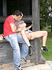 A horny couple fucking in public in a park