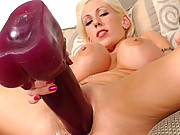 Kasey inserting a very big brutal dildo!
