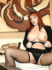 Amazing short black skirt red head takes a rod up  her ass after getting horny in her office in these hot big fucking pics