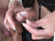 Mature mistress handjob with nylons