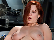 Amateur red head babe with REAL DD tits and luscious booty fucks machines for the first time in her ass and creamy pussy.